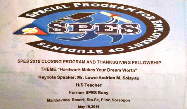 Thank you SPES 2016 for the invitation