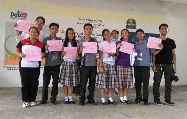 students and 3 teachers from Ligao National High School, Ligao City - Pilar Reading center